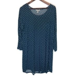 Soma large women's top 3/4 sleeve teal silky soft